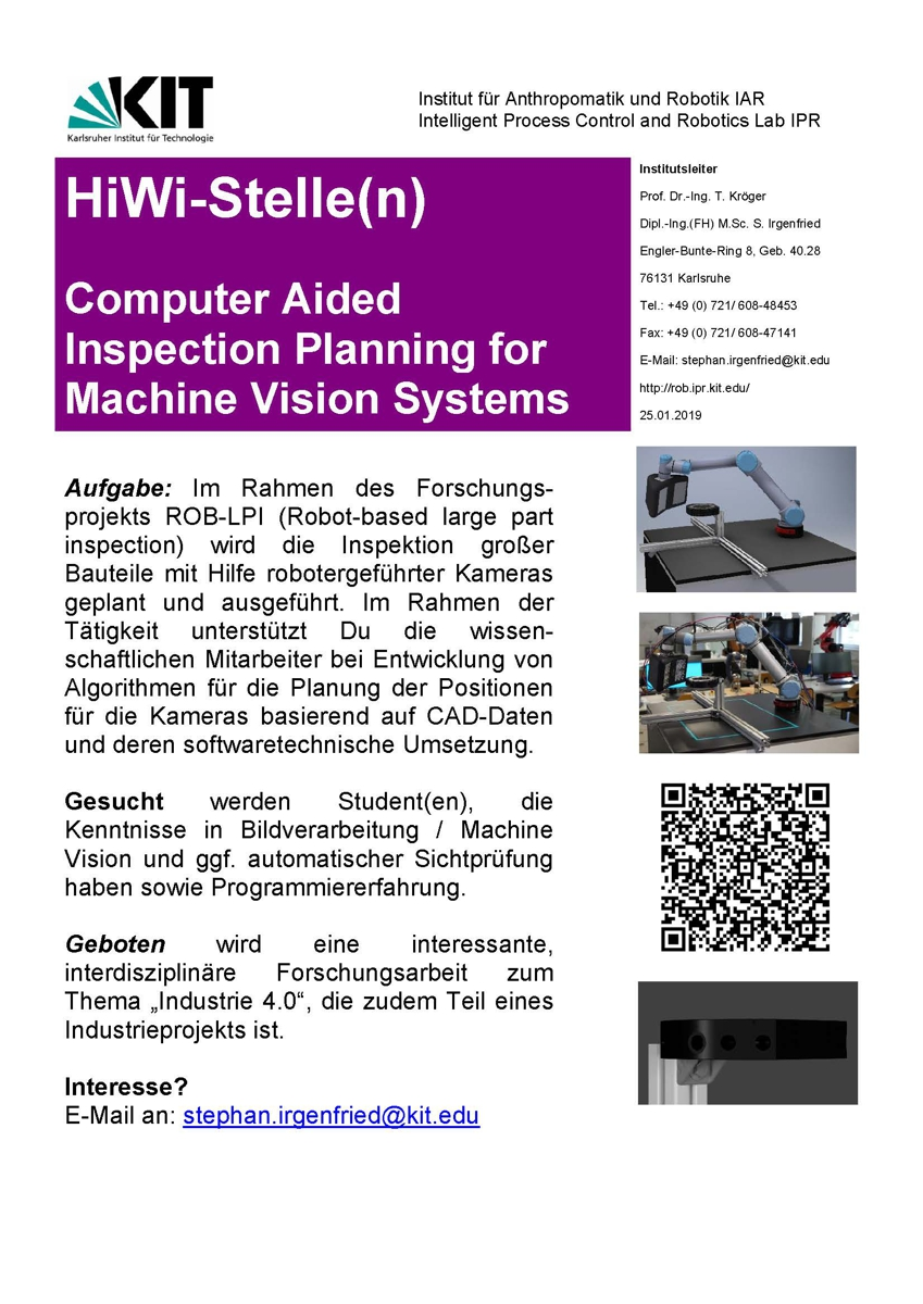 IPR - Jobs - Computer Aided Inspection Planning for Machine